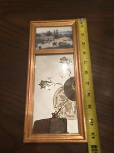 Vintage Grandma Moses The Old Checkered House Trumeau Wood Mirror Gold Frame