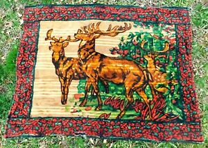 Antique Victorian Mohair Carriage Blanket With 3 Stag Heads 47 By 60 5 Inches