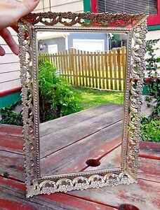 Ornate Flower Frame Gold Tone Metal Tray Or Stand Up Vanity Mirror 11 X 16 5