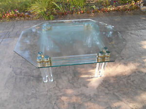 Vintage Mid Century Modern Lucite Acrylic Brass Glass Top Coffee Table