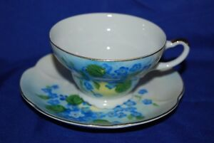 Vtg Tea Cup Saucer Lefton Set China Hand Painted Blue Forget Me Not Flowers July