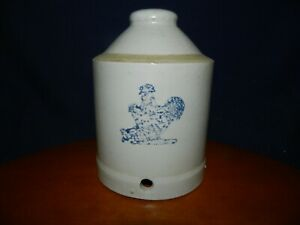 Antique Chicken Feeder Water Blue Stoneware Pottery Crock