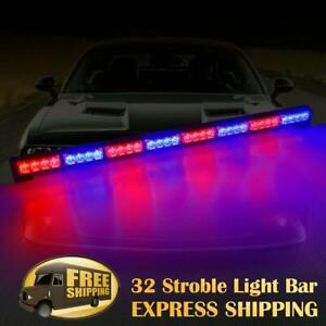 35 32 Led Traffic Advisor Emergency Hazard Warning Strobe Light Bar Red Blue