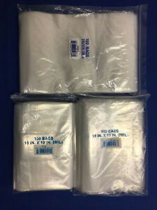 9x12 10x10 10x12 10x13 Clear Plastic Ziplock Reclosable Poly Jewelry Bags 2mil