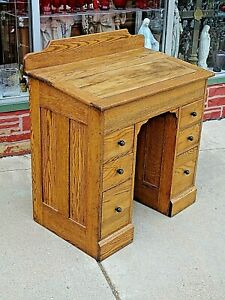 Victorian Child S Antique Knee Hole Slat Top 6 Drawer Oak Desk