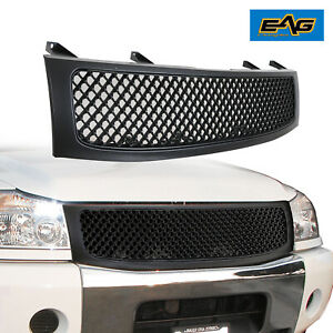 Eag Replacement Grille Front Hood Upper Grill Fit 04 12 Nissian Titan Black
