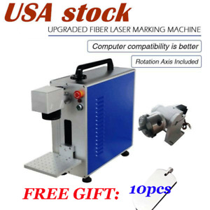 Upgrade Portable 30w Fiber Laser Marking Engraver Laser Marker Rotary Axis