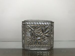 Antique Indian Silver Gilt Tea Caddy Kashmir Silver 1900 175 Gms