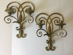 Pair Of Antique Bronze Wall Sconces Heavy Olde World Gothic Decor Candle Holders