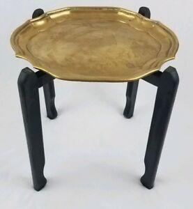 Vintage Moroccan Etched Brass Tray Table With Folding Wood Stand Persian