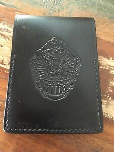 Vintage Tex Shoemaker Alaska State Troopers Leather Note Pad Holder 4 5 8 x6 3 8