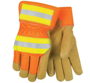 Mcr 19261 Safety Luminar High Visibility Leather Gloves Medium 12 Pairs