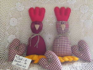 2 Roosters 3 Hearts Bowl Fillers Homespun Burgundy Country Kitchen Home Decor
