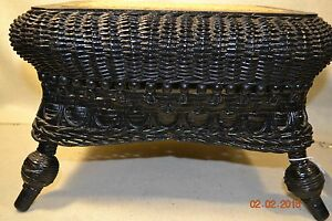Rare Antique Wicker Seat Stick Ball Cane Footstool Excellent 801112