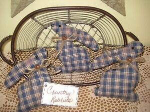 3 Handmade Country Blue Check Fabric Rabbit Bowl Fillers Farmhouse Home Decor