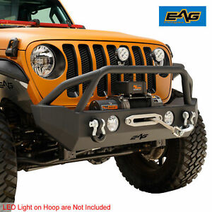 Eag Black Stubby Front Bumper With Fog Light Hole For 18 19 Jeep Jl Wrangler