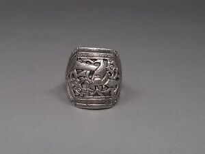 An Adjustable Antique Chinese Solid Silver Ring Magpie Plum Blossoms Pattern