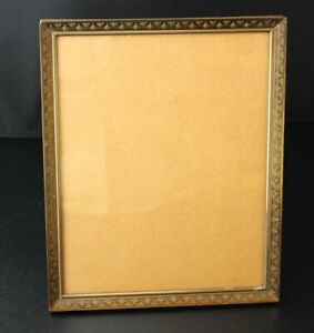 Vintage Metal Gold Tone Brass Finish 8 X10 Picture Frame Standing Wall Hanging