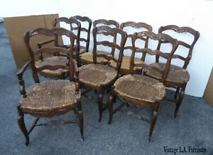 Set Eight Vintage French Country Rustic Oak Ladderback Rush Seat Dining Chairs