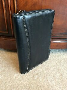 Classic Black Leather Zip Wire Bound Planner Cover Franklin Covey Note Pad Folio