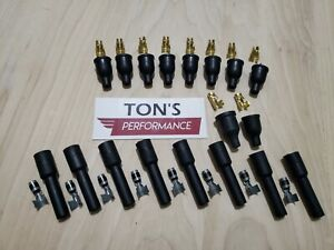 8 Cylinder 7mm Black Rubber Spark Plug Boot Kit Steel Brass Ends V8 Coil Wire