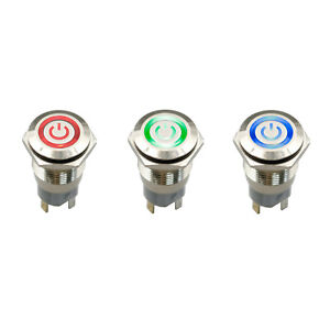 10pcs 5pin Dc12v 16mm Momentary Maintained Button Push Switch Waterproof