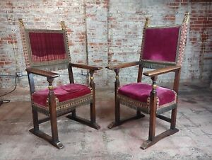 Spanish Revival Antique High Back Chairs W Red Velvet Upholstery A Pair