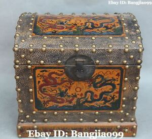 12 Chinese Wood Lacquerware Dragon Loong Chest Box Case Jewel Boxes Statue