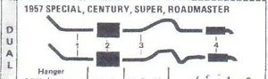 1954 1955 Buick Super Roadmaster Dual Exhaust System Aluminized