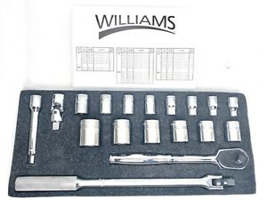 New Genuine Jh Williams Wss 18hf 1 2 Dr 18pc 6pt Socket Set W Ratchet Breaker