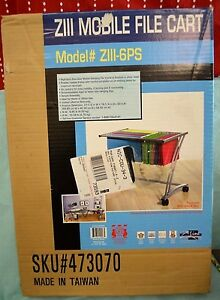 New Ziii Mobile File Cart Executive Silver Steel Hanging Frame Wheels Office