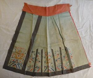 Antique Chinese Embroidered Silk Skirt Lt Qing Dynasty Five Claw Dragons