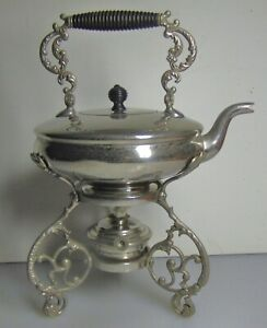 Vintage Antique Silver Plate Tea Pot Coffee Pot On Stand With Burner