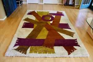 Large Mid Century Modern Rya Abstract Wool Rug Scandinavian Hygge Danish Shag