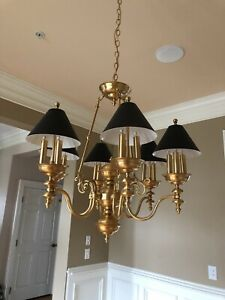 Brass Chandelier 6 Arms 3 Lights Arm Black Tole Shades