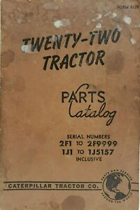 Vintage Caterpillar Twenty two Tractor Parts Catalog 2f1 1j1 1955 Paperback
