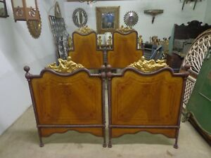 Rare Pair Of Italian Art Nouveau Paint Decorated Twin Matrimonial Beds Ca 1885