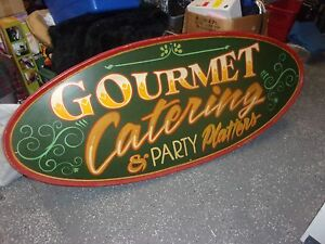 Restaurant Catering Sign Wooden 72 X 30 1 2 Two Sided