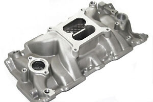 Sbc Dual Plane High Rise Square Bore Aluminum Intake Manifold 55 86 Chevy
