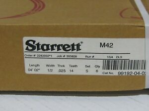 Starrettt 4ft 2in X 1 2 025 14t box Of 6 Diepro M42 Bimetal Bandsaw Blade