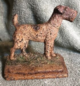Antique Vintage 294 Hubley Cast Iron Fox Terrier Airdale Dog Bookend Doo
