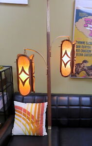 Mid Century Modern Pole Tension Floor Lamp Swag Teak Brass Retro Mcm