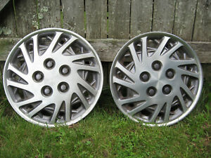 2pc Vintage 90 S Dodge Plymouth Chrysler 15 Inch Full Wheel Hubcaps Vg Exc Cond