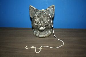 Antique 1800 S General Store Cast Iron Cat String Thread Holder Dispenser