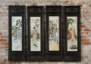 Antique Chinese Hand Painted Porcelain Panels Set Of 4