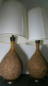 Pair Cork Lamps With Original Shades Mid Century Modern Lamp Danish Eames 1970s