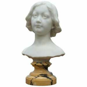 Napoleon Iii French Solid Marble Bust Signed By Sculptor Of A Beautiful Women