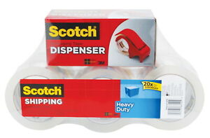 Scotch Heavy Duty Shipping Packaging Tape 1 88 Inches X 54 6 Yards Clear Set