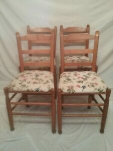 Set 4 Vintage Ladder Back Pine Dining Chairs Rustic Farm House Cottage Country