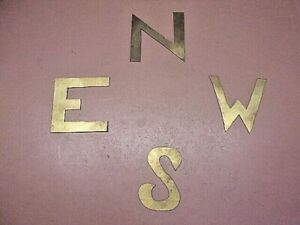 4 Solid Brass Weathervane Directional Letters Hand Cut Crude N S E W Nice